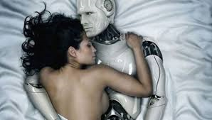 Woman with male sex robot